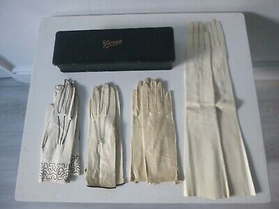 Vintage Leather Gloves Box with 4 Pairs of Original Gloves & Glove Stretcher