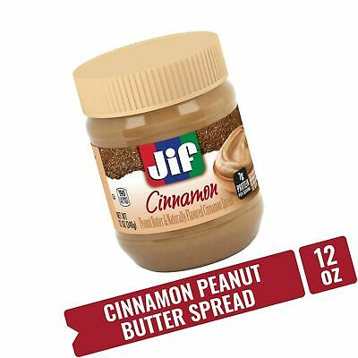Jif Cinnamon Peanut Butter HEALTHY Spread 12 oz with 7g of Natural Protein