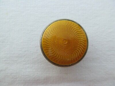Antique English  Miniature  Pill Box Sterling Silver  Yellow Enamel Guilloche