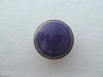 Antique English  Miniature  Pill Box Sterling Silver Violet Enamel Guilloche