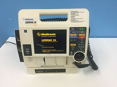 LIFEPAK 12 Biphasic Monitor AED Pacer Printer Physio-Control WITH PADDLES