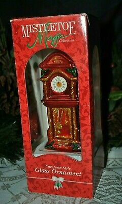 "MISTLETOE Magic Collection Christmas GLASS Ornament GRANDFATHER Clock 7"" Europe"