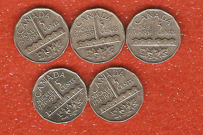 5 canada 1951 commemorative five cent coins