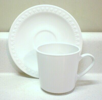 Centura by Corning - Sculptured Rim White Tulips Saucer and 8 oz. Pyroceram Cup