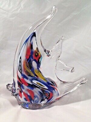Murano Labeled Art Glass Tropical Fish Multi-Color, and Clear Cased Paperweight
