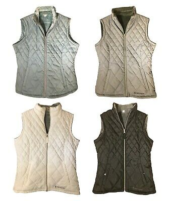 Womens XL Free Country Reversible Diamond Quilted Lightweight Vest Pockets Black