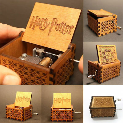 Tiny Harry Potter Wooden Hand Engraved Music Box Fun Interesting Toys Kids Gifts