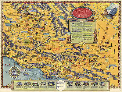 1935 Pictorial Map Edison Electrical Service System in California History Poster