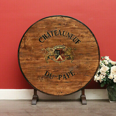 Antique Vintage Original Chateauneuf-Du-Pape France Vineyard Wine Foyer Table