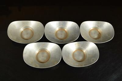 A4081: Japanese Tin TEA CUP TRAY Saucer Chataku 5pcs, Tea Ceremony