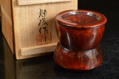 A4059: Japan Bamboo Lacquer ware TEA CADDY Natsume Chaire Container w/signed box