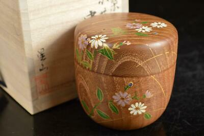 A4055: Japanese Wooden TEA CADDY Natsume Chaire Container w/signed box