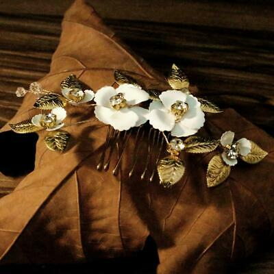 Handmade Bridal Wedding Flower Side Hair Comb Clip Prom Party Womens Headpiece