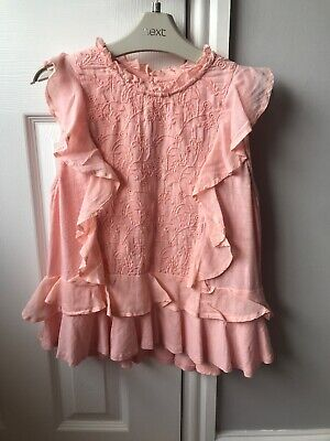 Bnwot Next Girls Peach Frilly Flower Detail Top Age 12