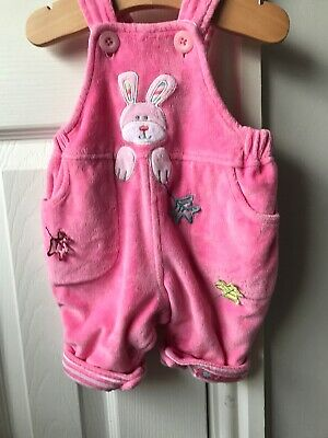 Pumpkin Patch Baby Girls Newborn Padded Pink Bunny Dungarees Unusual Adorable