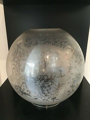 antique lace affect acid etched victorian oil lamp globe