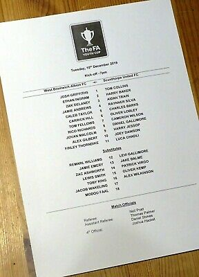West Bromwich Albion, WBA - Scunthorpe United, FA Youth Cup, teamsheet, 10/12/19