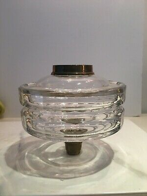 victorian clear cut glass two tiered oil lamp fount