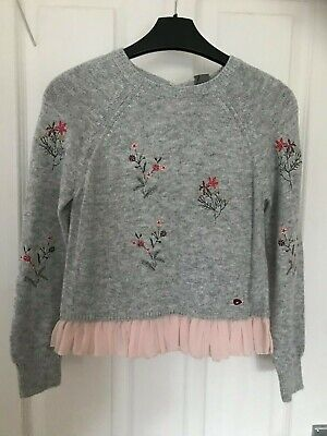 Next Pale Grey embroidered jumper with pretty pale pink trim. Age 9 BNWT