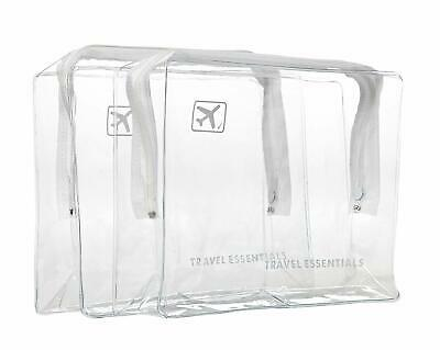 2 X TRAVEL ZIP Bags CLEAR AIRPORT TRANSPARANT LIQUID TOILETRIES CABIN HOILDAY