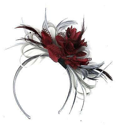 Silver Grey Burgundy Wine Red Net Hoop Feather Hair Fascinator Headband Ascot