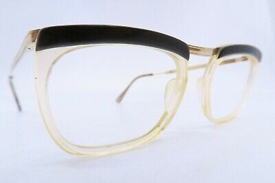 Vintage 50s eyeglasses frames gold filled brown brow Doublé Or Laminé France EXC