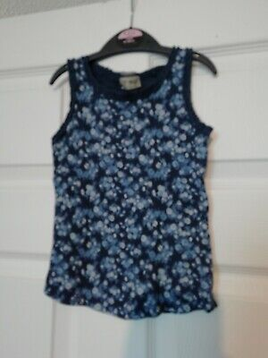 Next Girls Blue Floral Vest T-shirt/Top Age 3-4 Years