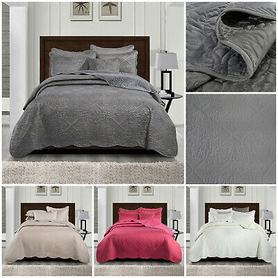 Luxury Quilted Bedspread Bed Throw Double King Size White Grey Bedding Set