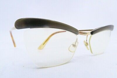 Vintage 50s eyeglasses frames gold filled AMOR flared green brow France