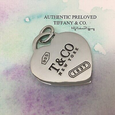 Excellent Authentic Tiffany & Co 1837 XL Heart Tag Pendant Charm Large Silver
