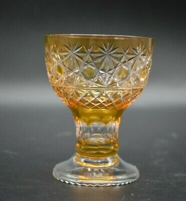 """Czech/Bohemian Crystal Cased Amber Cut To Clear Russian 3 3/4"""" Roemer Wine Glass"""