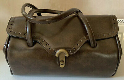 Vintage Large Dark Brown Gladstone Bag/ Handbag Man made Material
