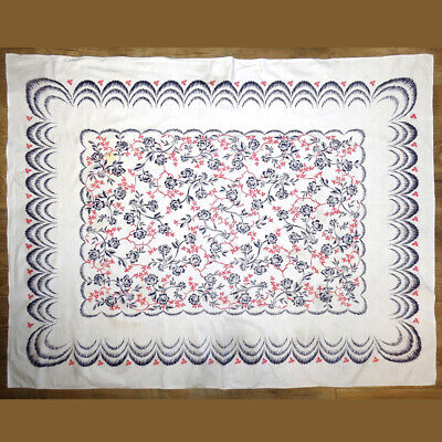Vintage Red Blue Floral Print Tablecloth 48x63