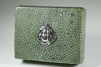 Antique Art Deco Silver Scarab Mounted Shagreen Stamp Box c1920/30s