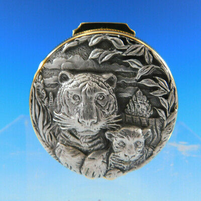 Buccellati Sterling Silver Tooth Fairy Mirrored Pill Trinket Box Tiger and Cub