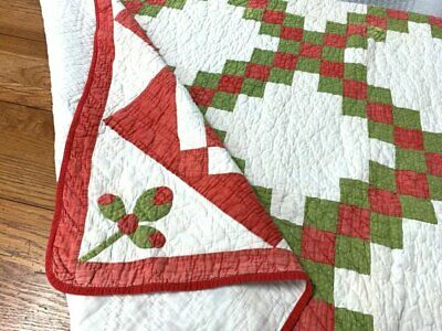 """Christmas! Red Green c 1880-1890s Irish Chain """"APPLIQUE Buds"""" Antique Quilt"""