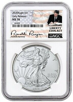 2020 1oz Silver Eagle NGC MS70- ER Liberty Coin Act Label