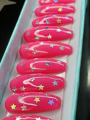 Neon pink nails with silver holographic stars press on nails long coffin barbie