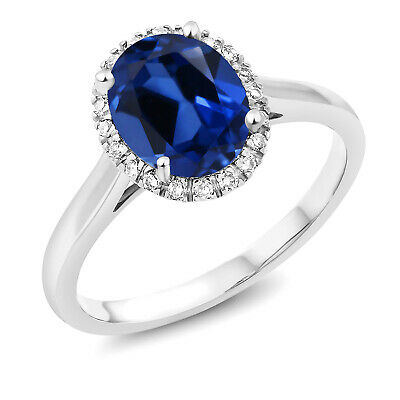 2.30 Ct Oval Blue Created Sapphire and Diamond 10K White Gold Ring