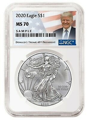 2020 1oz Silver Eagle NGC MS70 - Donald Trump Label