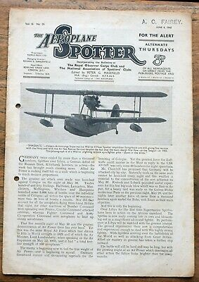 OLD  Magazine The Aeroplane Spotter  June  4th 1942