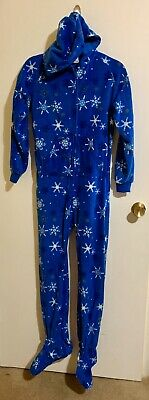 Kids Boys Girls XL Christmas Winter Footie Footed Fleece Pajamas With Hood
