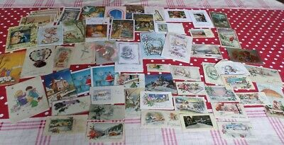 Bundle Job Lot 60 French Vintage Antique Used & Unused Christmas New Year  Cards