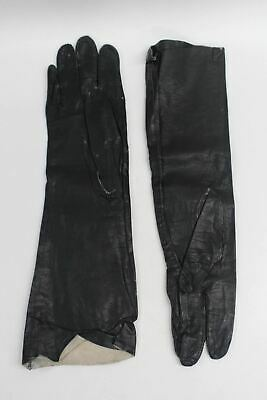 ALEXETTE BACMO Vintage 60s Black Leather Mid Arm Opera Evening Gloves Size 7.5