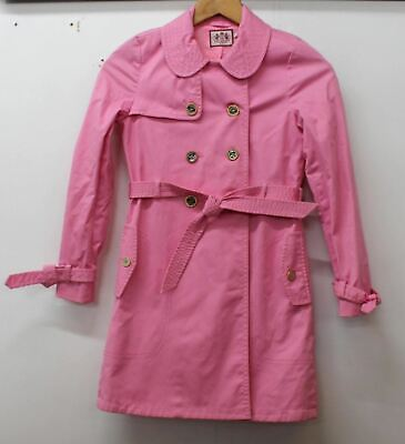 JUICY COUTURE Girls Pink Cotton Blend Double Breasted Jacket Coat Age 10 Yrs.