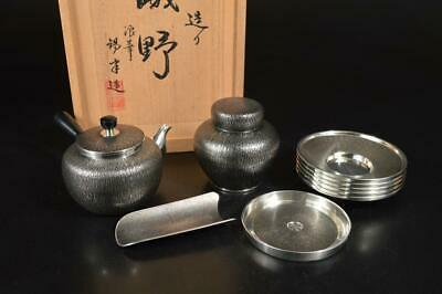 A3677: Japanese XF Tin TEAPOT TEA CADDY Chaire Container w/signed box