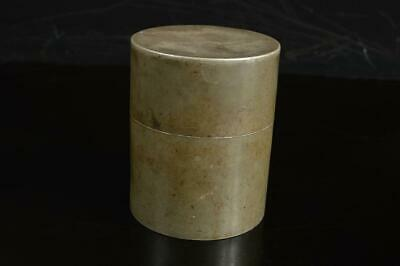 A4525: Japanese XF Old Tin TEA CADDY Chaire Container Tea Ceremony