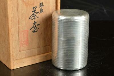 A4524: Japanese Tin Ring line sculpture TEA CADDY Chaire Container w/signed box