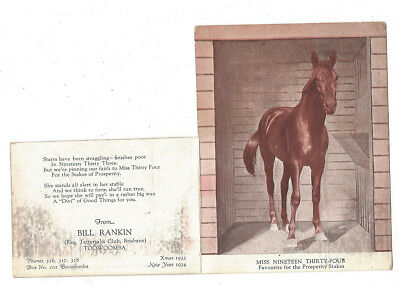 OLD CARD Greetings Horse 1933 Miss Nineteen Thirty -Four Prosperity Stakes