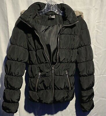 H & M Divided Women's Black Hooded Bubble Jacket (pre-owned)